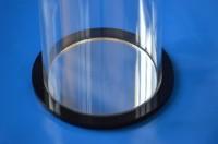 Plexiglas® Boden mit Nut für Rohr Farbe Schwarz / Spiegel